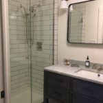 bathroom mirror and shower